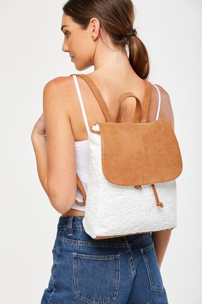 Fold Over Backpack, WHITE LACE