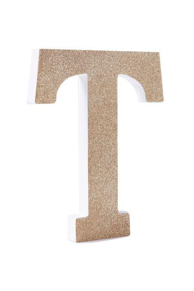 Glitter Letterpress Letter, GOLD GLITTER T