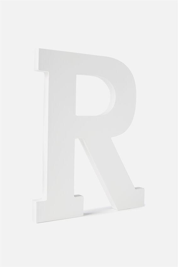 Large Letterpress Letter, WHITE R
