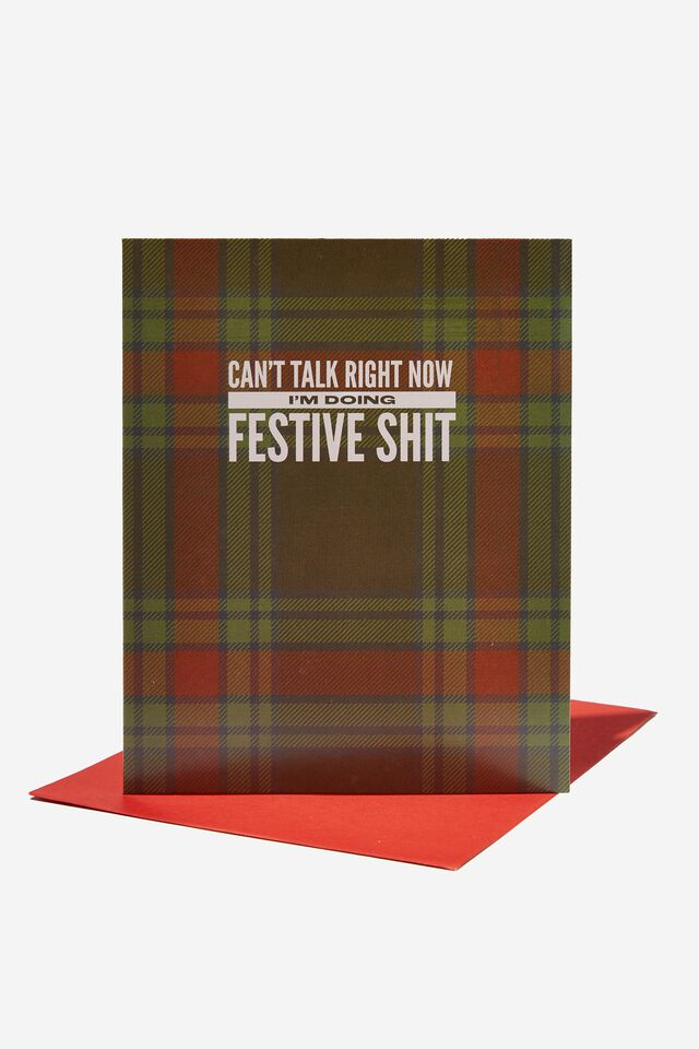 Christmas Card 2021, CANT TALK RIGHT NOW FESTIVE SHIT TARTAN!