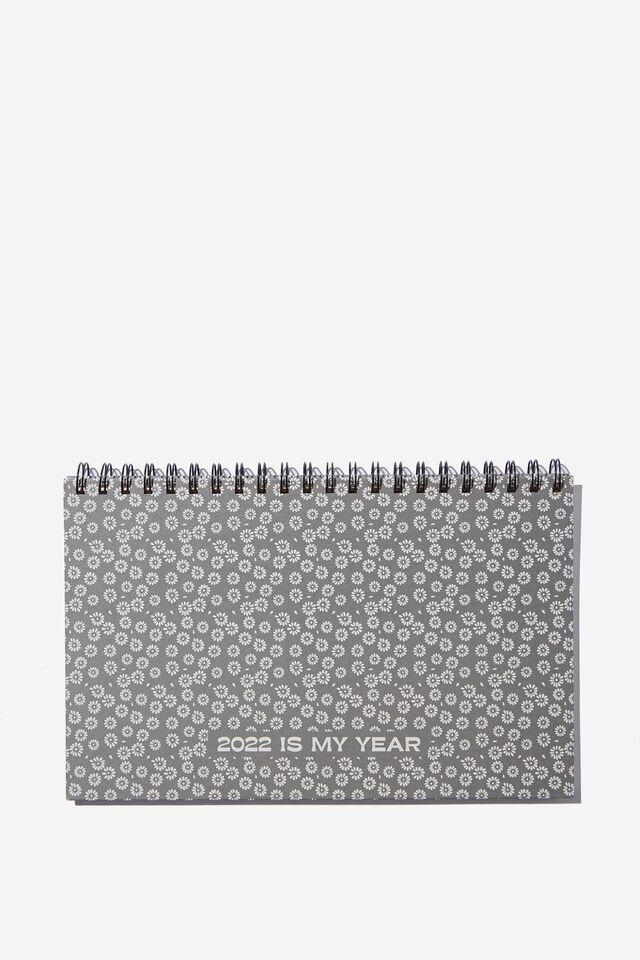 2022 Wide Desk Calendar, STAMPED DAISY GREYSCALE