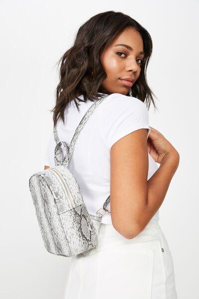 Mini Arch Backpack, BLACK & WHITE SNAKESKIN