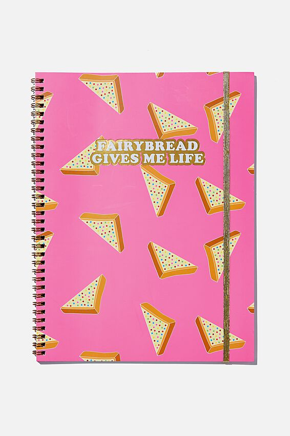 A4 Spinout Notebook Recycled, FAIRY BREAD