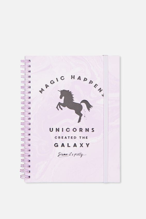 Small Spinout Notebook - V, MAGIC HAPPENS UNICORN MARBLE