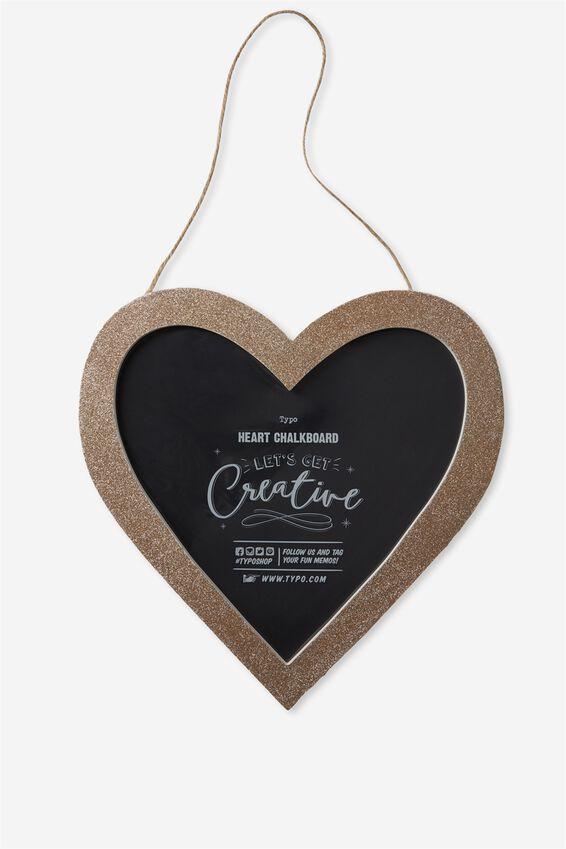 Heart Blackboard, GOLD GLITTER