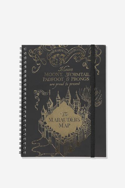 A5 Spinout Notebook - 120 Pages, LCN HP MARAUDERS MAP FOIL