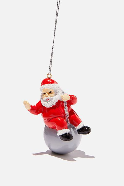 Resin Christmas Ornament, SANTA WRECKING BALL