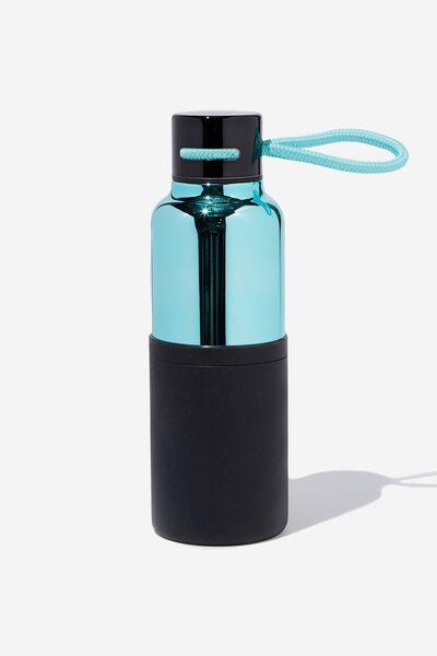 The Loop Metal Drink Bottle, LIGHT BLUE & BLACK