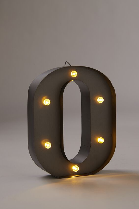 Midi Marquee Letter Lights 6.3inch, SILVER O