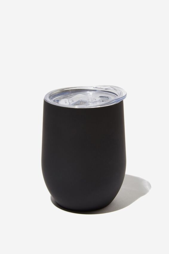 Metal Travel Tumbler, BLACK RUBBER