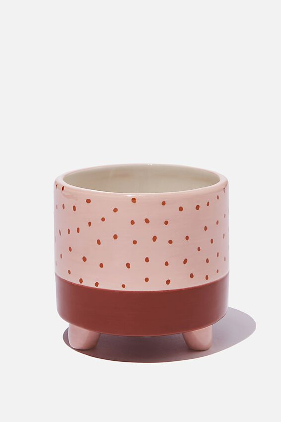 Small Shaped Planter, TWO TONE POLKA