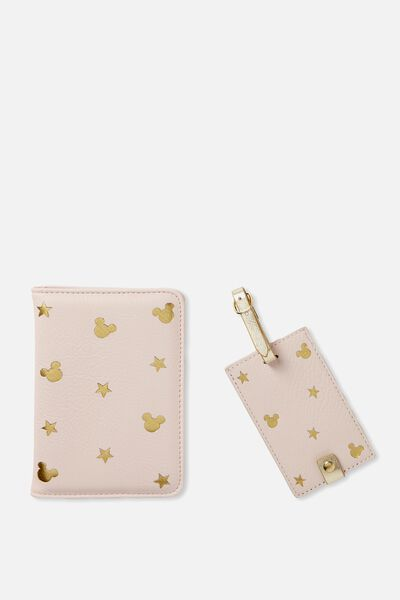 Passport Holder & Luggage Tag Set, LCN BLUSH MICKEY DITSY PRINT