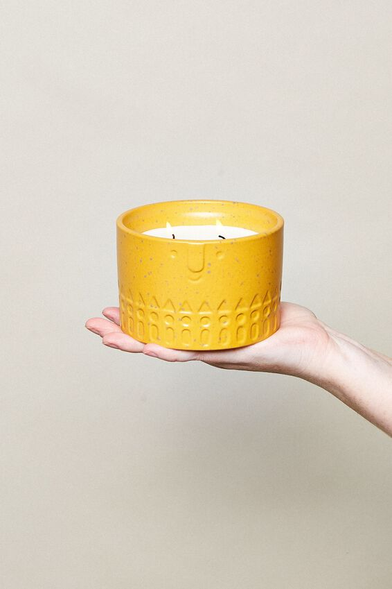 Ceramic Face Candle, MUSTARD