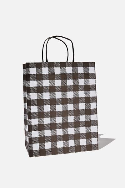 Get Stuffed Gift Bag - Medium, BLACK WHITE GINGHAM