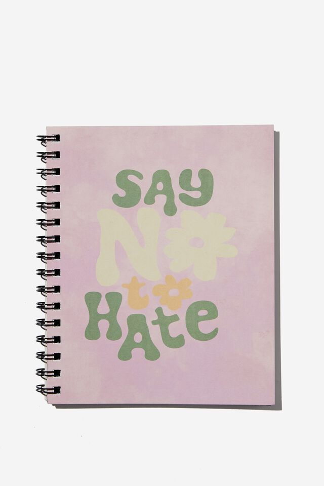 A5 Campus Notebook Recycled, SAY NO TO HATE TIE DYE DAISY
