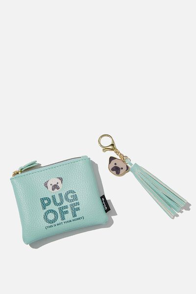 Coin Purse And Bag Charm Set, PUG OFF
