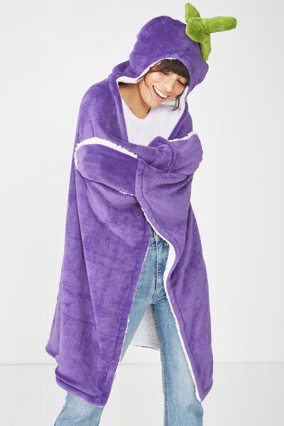 Novelty Hooded Blanket, EGGPLANT