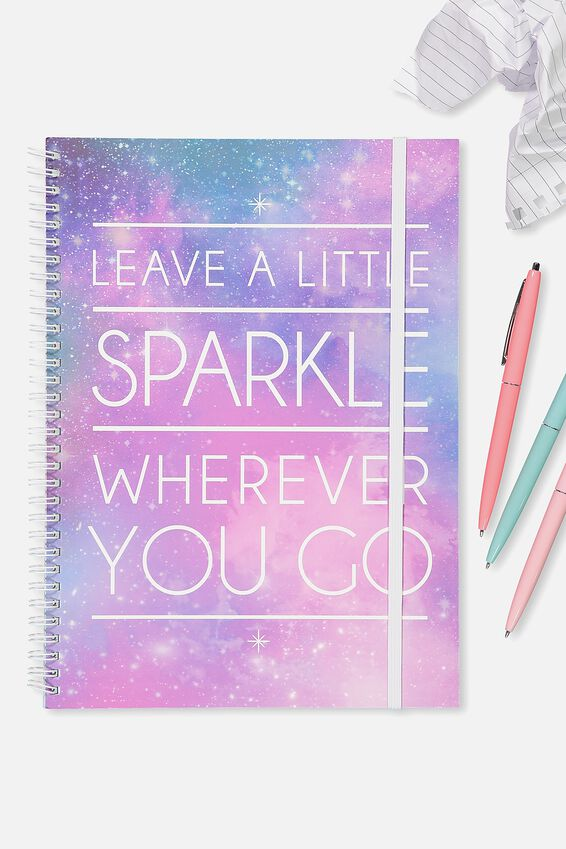 Large Spinout Notebook - V, SPARKLE WHEREVER YOU GO