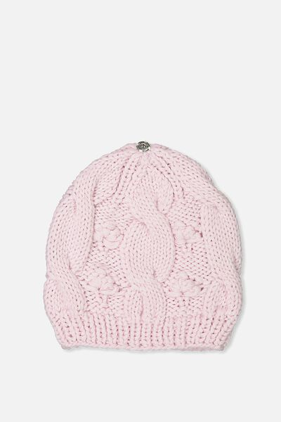 Personalised Beanie, PINK CABLE KNIT