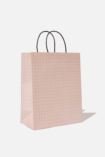 Get Stuffed Gift Bag - Medium, PINK WHITE GRID