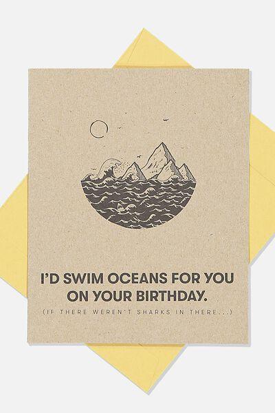 Funny Birthday Card, ID SWIM OCEANS