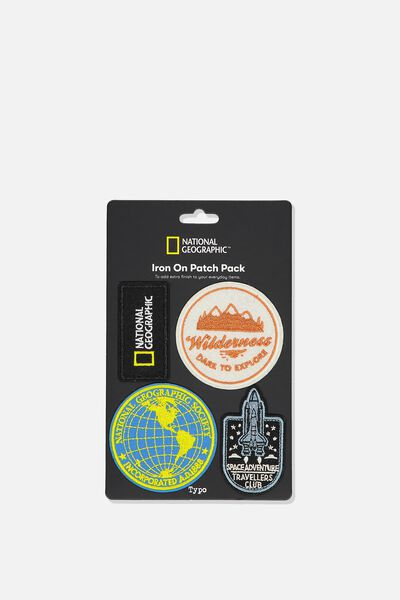 4Pk Fabric Badge, LCN NATIONAL GEOGRAPHIC ICONS