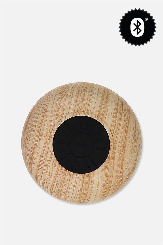 Waterproof Bluetooth Shower Speaker, OAK WOODGRAIN