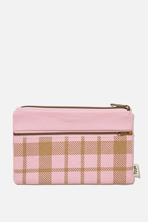 Archer Pencil Case, RETRO CHECK PLASTIC PINK
