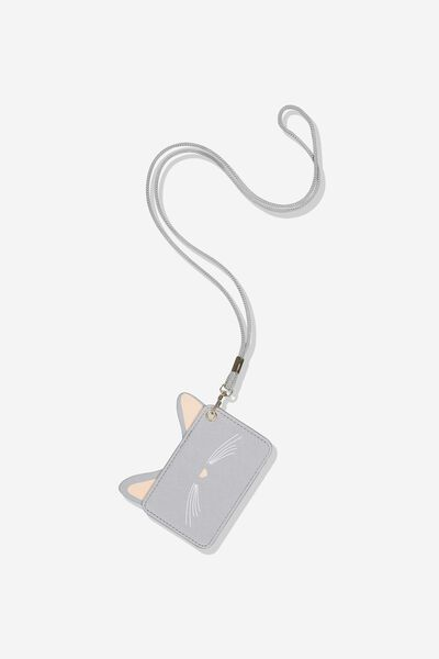 Novelty Cardholder, GREY CAT