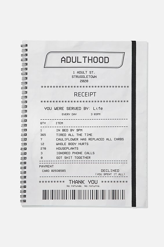 A4 Spinout Notebook Recycled, ADULTHOOD