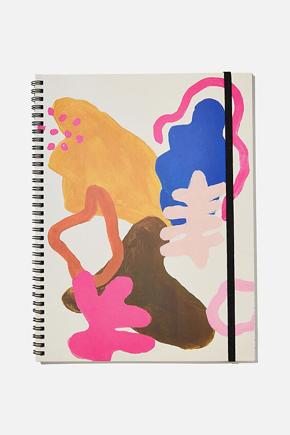 A4 Spinout Notebook Recycled, PAINTED ABSTRACT SHAPES