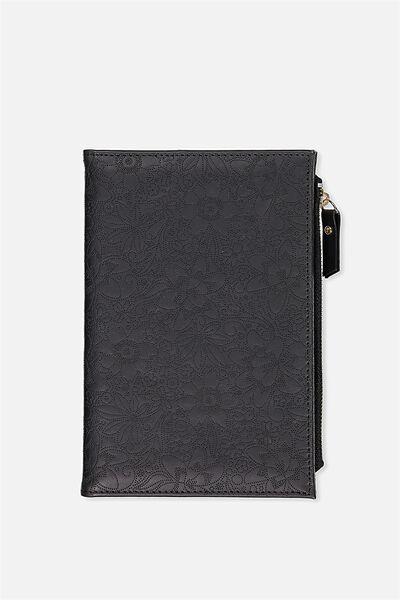 Travel Zip Journal, BLACK TOOLED