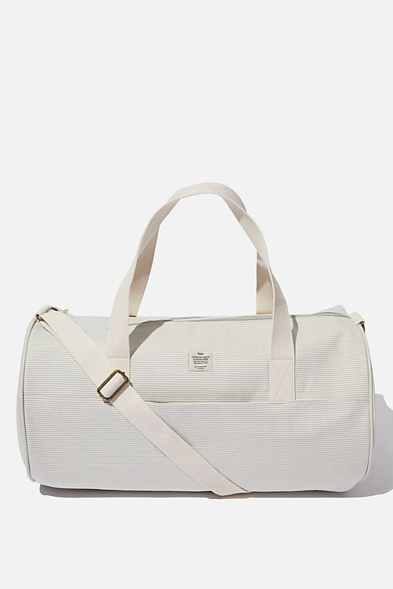Canvas Barrel Bag, LIGHT GREY NEUTRAL STRIPES