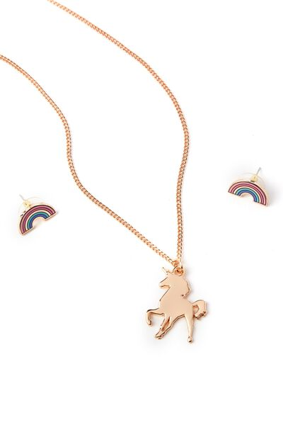 Necklace & Earring Set, UNICORN