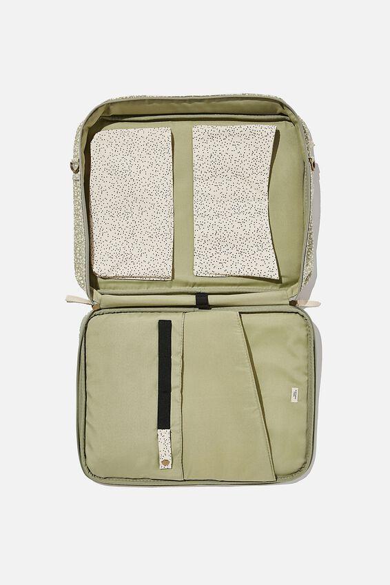 "Commute Laptop Case 15"" Canvas, GUM LEAF MEADOW DITSY WITH ECRU MICRO SPOT"