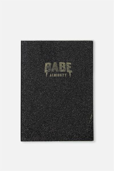 A5 Pvc Covered Notebook, BLACK GLITTER BABE