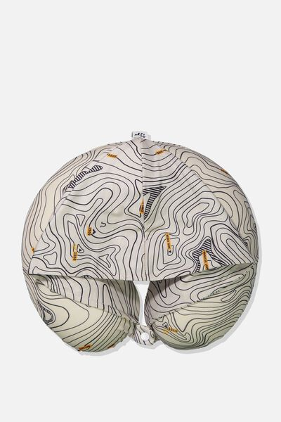 Travel Neck Pillow with Hood, TOPOGRAPHIC MAP