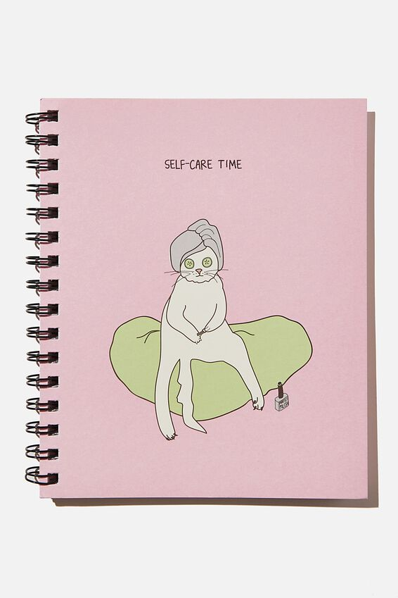 A5 Campus Notebook Recycled, PINK CAT SELF CARE