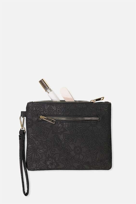 Wristlet Zip Pouch, BLACK TOOLED