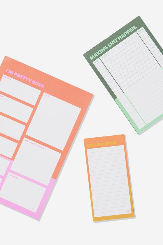Notepad 3Pk, COLOUR BLOCKED BUSY!!
