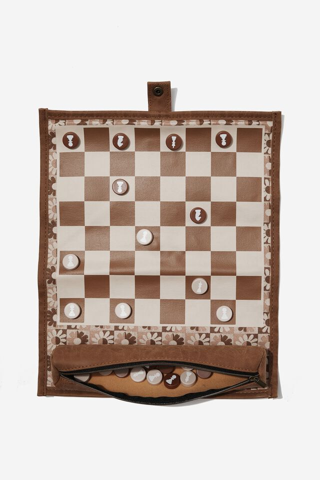 2 In 1 Roll Up Chess And Checker Set, CHECKERBOARD DAISY CLAY