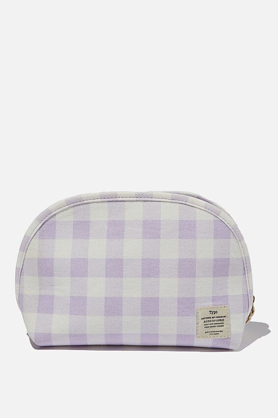 Canvas Essential Pouch, GINGHAM PALE LILAC