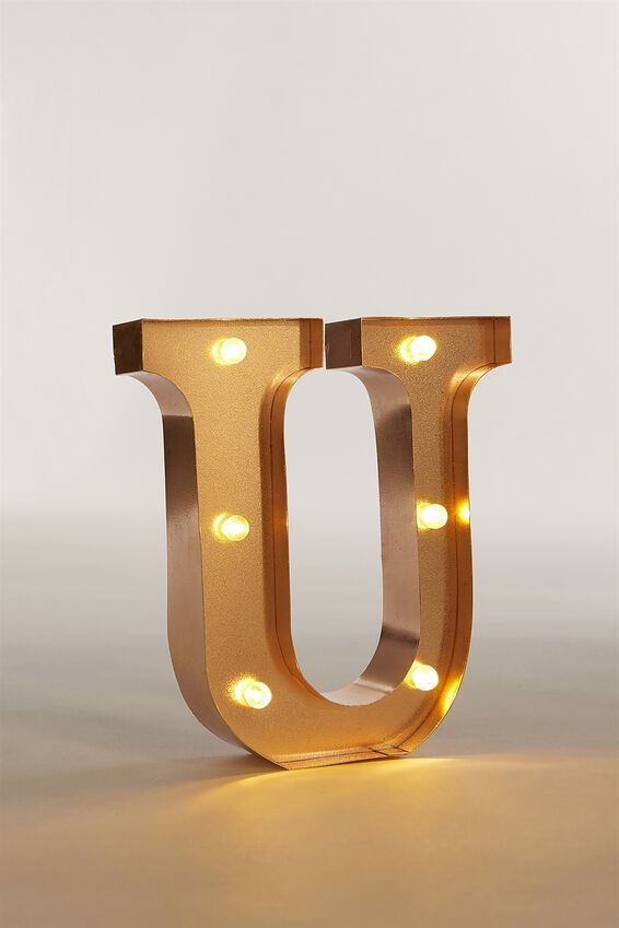 Marquee Letter Lights Premium 6.3inch Midi, ROSE GOLD U