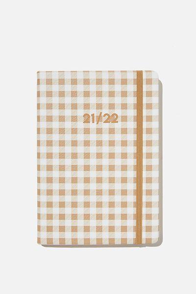 2021 22 A5 Weekly Buffalo Diary, DRIFTWOOD GINGHAM