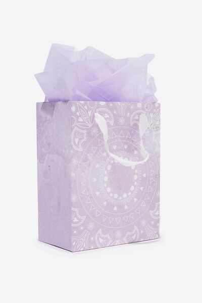 Small Gift Bag with Tissue Paper, LILAC MANDALA CIRCLE