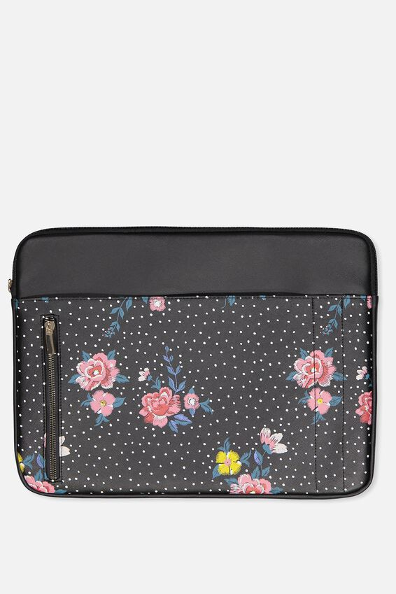 """Take Charge Laptop Cover 15"""", BLACK DOTTY FLORAL"""