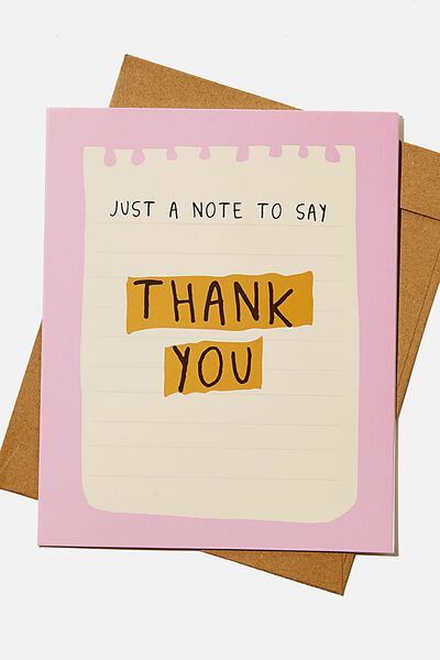 Thank You Card, JUST A NOTE TO SAY LIST