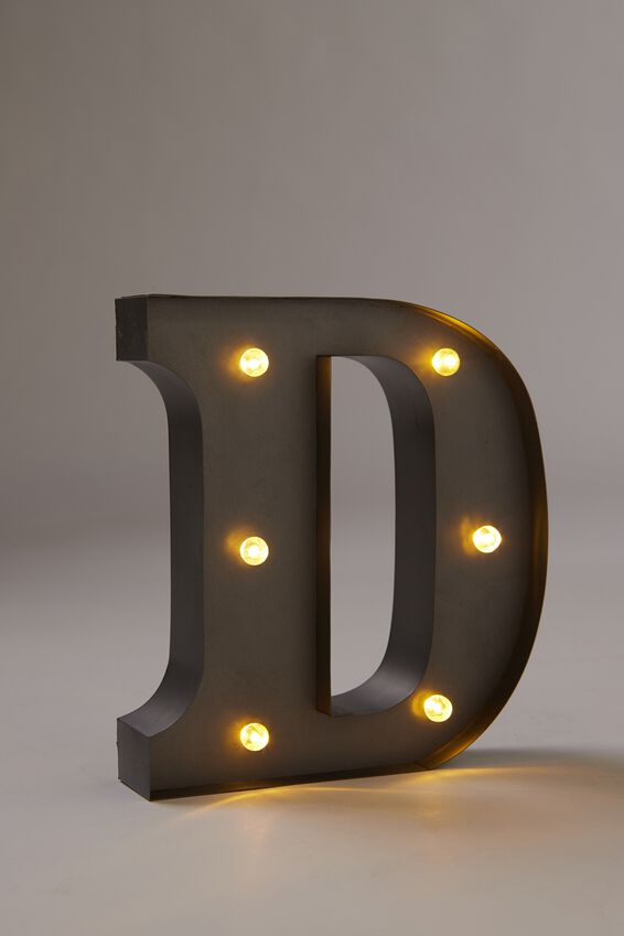 Midi Marquee Letter Lights 16cm, SILVER D