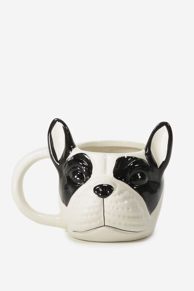 Novelty Shaped Mug, BLACK & WHITE FRENCHIE