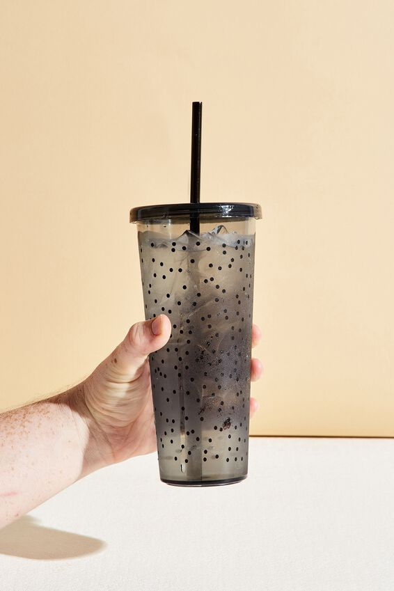 Sipper Smoothie Cup, BLACK POLKA DOT